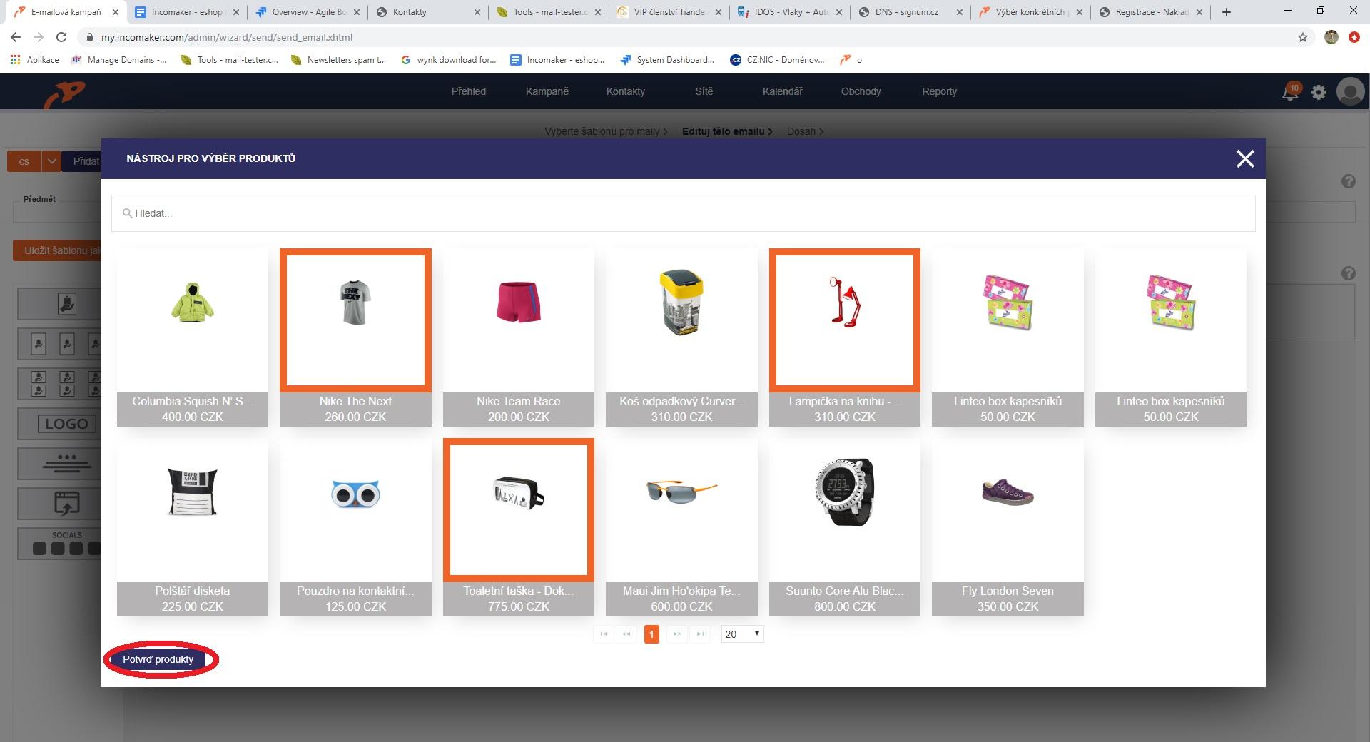 Výběr konkrétních produktů