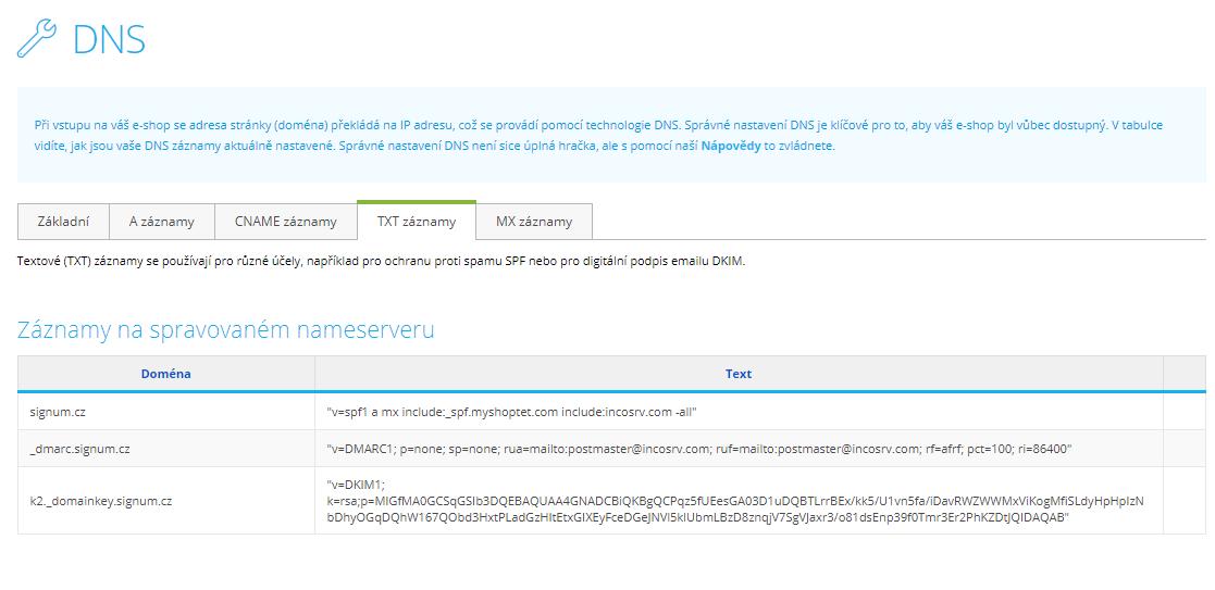 Shoptet nastavení DNS